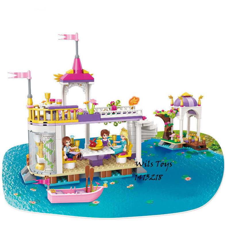 358pcs Lakeside Party Princess Friends Creator For Girls Castle Building Blocks Brick Figures Gift Doll Educational Toy Set Emma princess ponies 6 best friends for ever