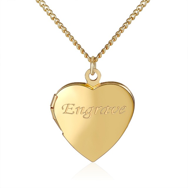 DUOYING Heart Locket Necklace Romantic Keepsake Custom Engraved Name Personalized Unique Necklaces Love Jewelry Gifts for