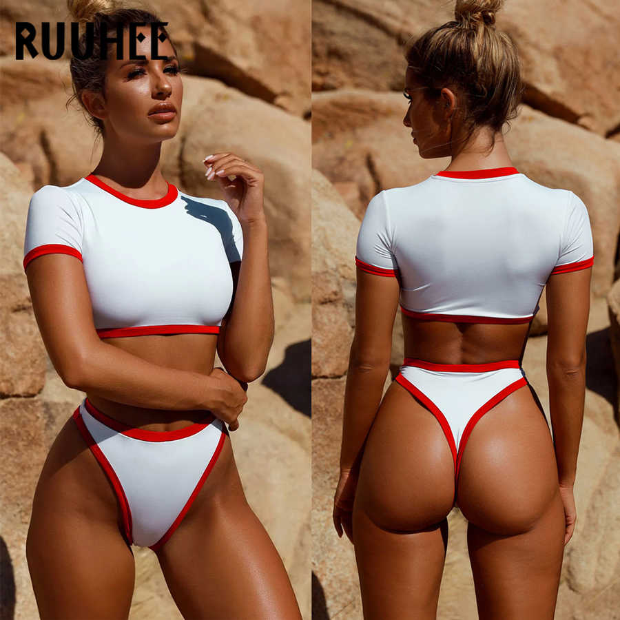 f4c91e58d4 ... RUUHEE Short Sleeve Bikini Swimwear Women Sport Swimsuit Top Sexy  Bikini Set Bathing Suit Sleeve Thong ...