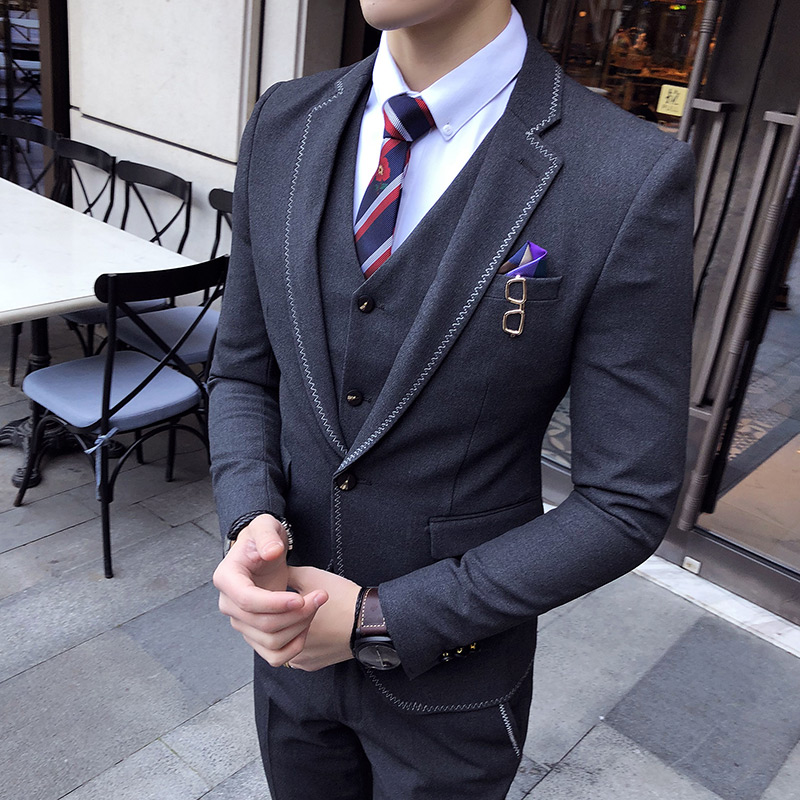 2e6d4c22479d € 86.72 19% de DESCUENTO|Formal de alto grado para hombre negro moda trajes  Slim fit hombres elegante traje chaqueta con chaleco y pantalones ...