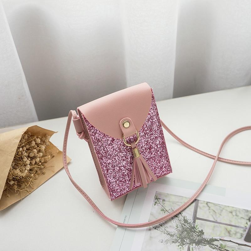 women small pink bling bling shoulder bag girl tassel mini cute solid color Glossy handbag cover opening bag cross body shoulder bag