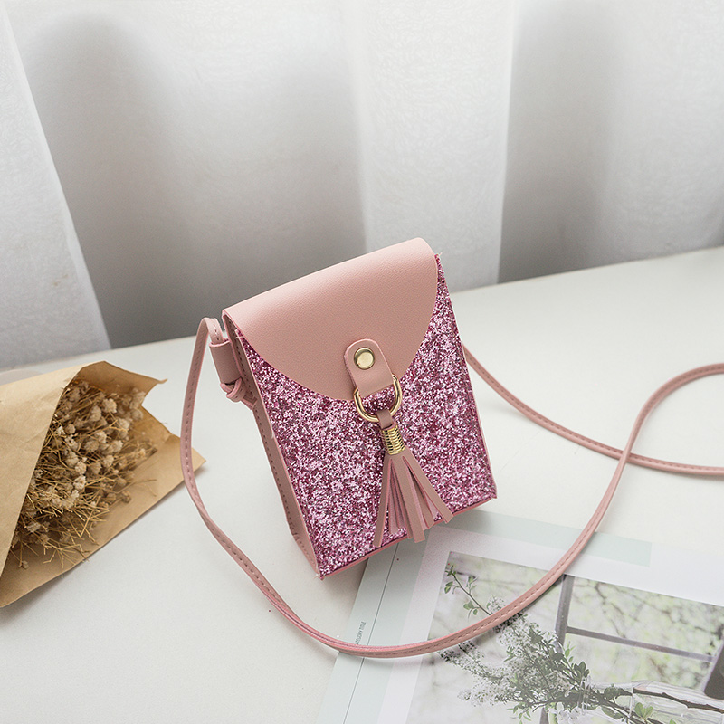 women small pink bling bling shoulder bag girl tassel mini cute solid color Glossy handbag cover opening bag cross body