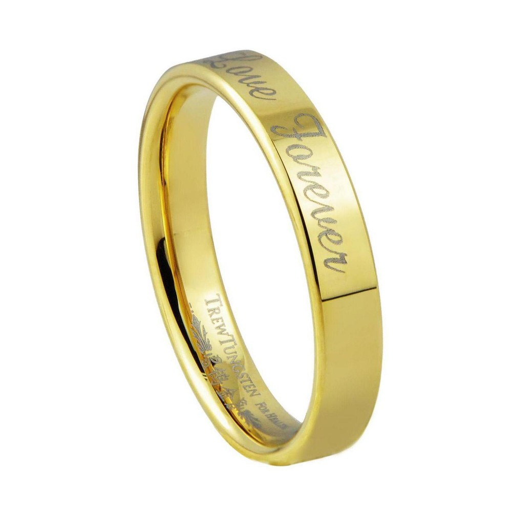 Rings Flat Style Gold boys Tungsten Wedding Band with Brushed ...