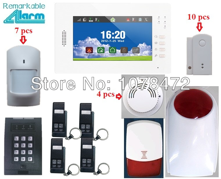 Friendly interface 7 inch touch screen burglar alarm system,IOS Android APP SMS Smart home security anti-theft GSM alarm system good quality sms gsm security alarm with voice in 7 languages touch keypad app controlled burglar alarm system with new sensor