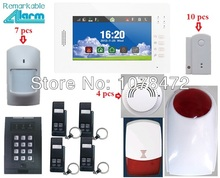 Friendly interface 7 inch touch screen burglar alarm system IOS Android APP SMS Smart home security