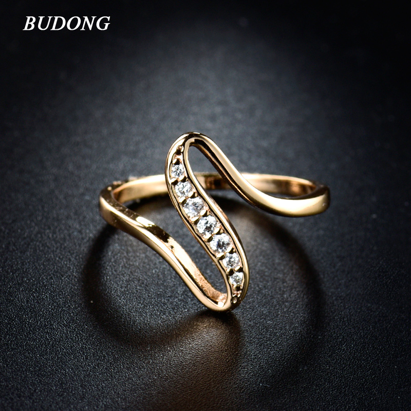 BUDONG 2017 Women Finger Rings Gold-Colour Engagement Wedding Rings for Cubic Zirconia CZ Vintage Lady Jewelry Bijoux