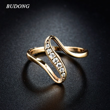 BUDONG 2017 Women Finger Rings Gold-Color Engagement Wedding Rings for Women Cubic Zirconia CZ Vintage Lady Jewelry Bijoux