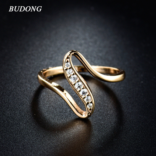 BUDONG 2017 Women Finger Rings Gold-Color Engagement Wedding Rings for Women Cub