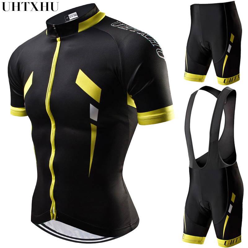 Uhtxhu Summer Men Cycling Set Mountain Bike Clothing MTB Bicycle Wear Clothes Maillot Ropa Ciclismo Cycling Jersey Sets