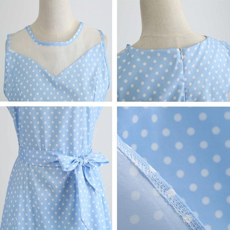 Retro letné párty šaty 1950 s bodkami Swing style (8 variánt) 32