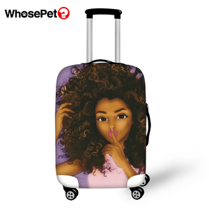 WHOSEPET African Girls Prints Travel Luggage Cover Dust-proof Anti-scratch Suitcase Thick Covers Travel Luggage Protective Cover