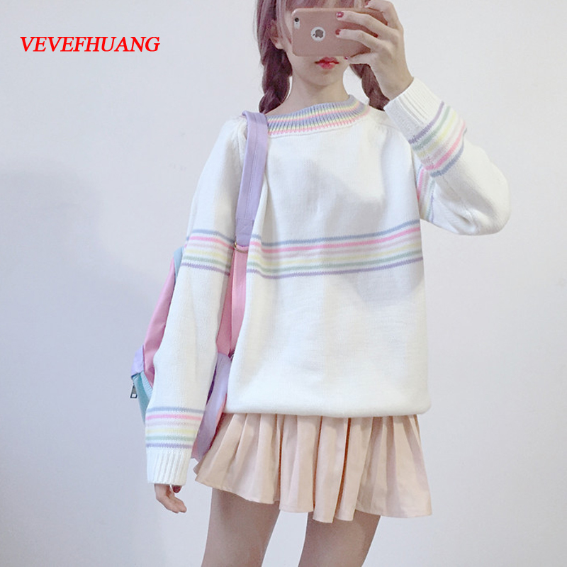 Autumn Edition Fresh Sweet Girl Colorful Stripe Long Sleeve Pullover Student Knitted Coat Feminine White Stripes Sweater