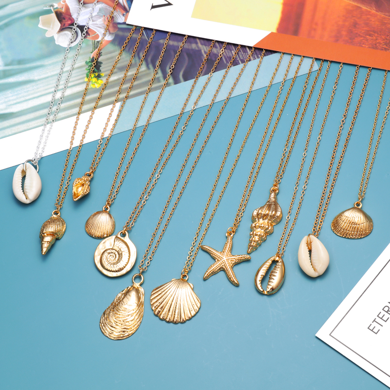 ZOSHI Starfish Shell Pendant Necklace Natural Shell Gold Cowrie Women Best Friend Cowry Seashell Necklace Bohemian Jewelry Шорты