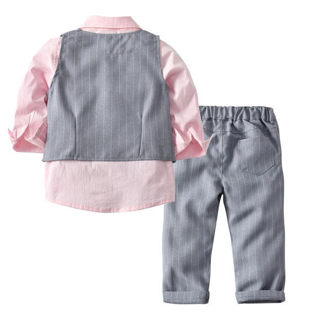 Perimedes 4PC Bbay Gentleman Winter Clothes Outfits Toddler Baby Boy Bowtie Gentleman Vest T-Shirt Pants Wedding Suit Cloth Sets