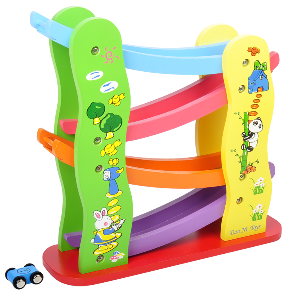 Baby Kids Colorful Wooden Ladder Gliding Car Wood Track Car Toys Educational Model to Slide Toy Children Gifts