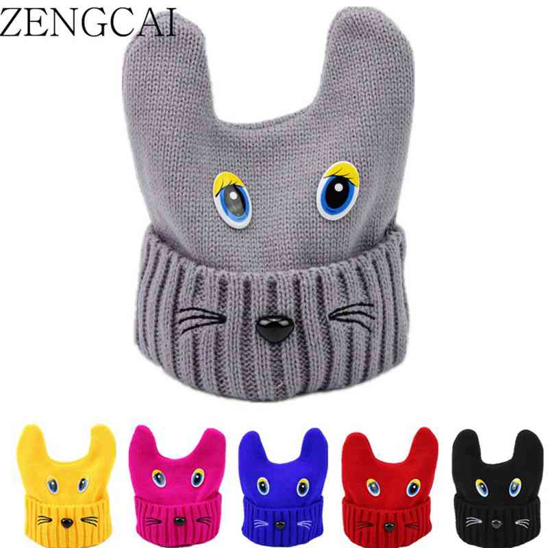 ZENGCAI Lovely Knitted Wool Baby Hats For Girls Boys Autumn Winter Children Kids Hats& Caps Warm Hedging Cap Cartoon Eyes Gorros hot sale boys girls winter hats solid smile face warm hats for kids children boys wool knitted hats gorro lana