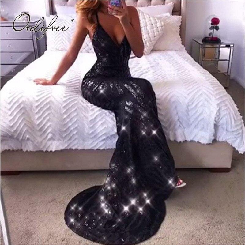 Ordifree 2019 été femmes longue robe de soirée tenue de club Wrap robe noir Sexy moulante dos nu or Sequin Maxi robe