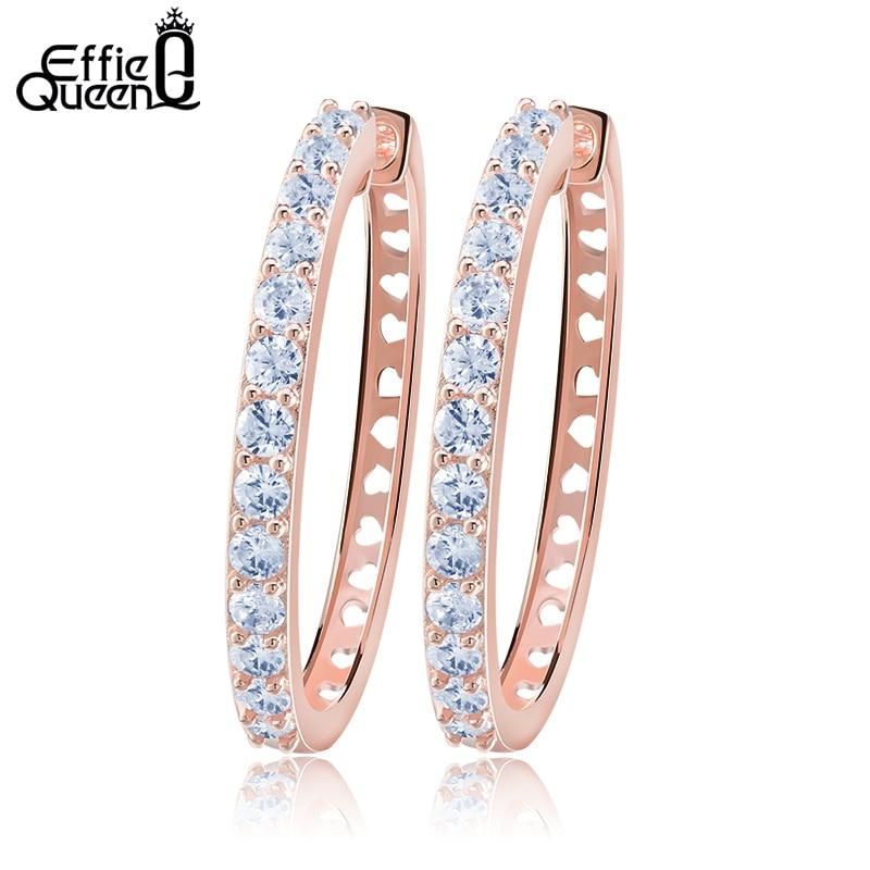 Effie Ratu New Fashion Stellux Austria Zircon Studded Putaran Hoop Earrings Trendy Berongga Punggung Wanita Anting DE143