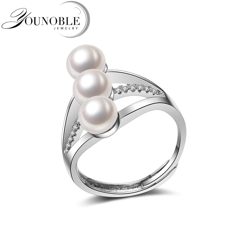 Wedding Rings For Women,925 Sterling Silver Freshwater Pearl Girls Rings Adjustable Engagement Best Gift White Color In Box