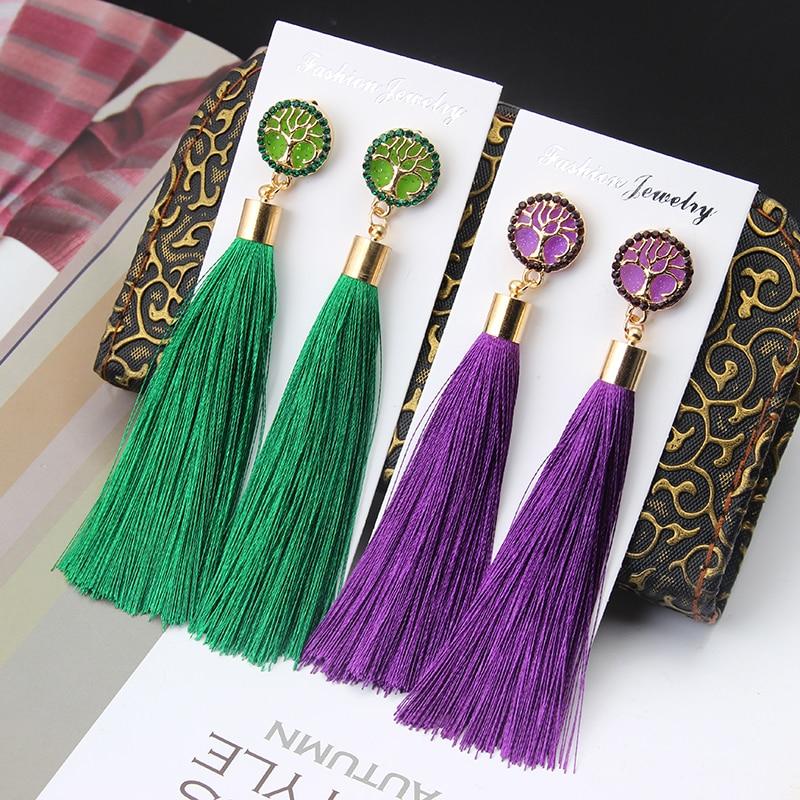 New Bohemian Crystal Tassel Earrings Long Exaggerated Life Tree Silk Fabric Drop Dangling Tassel Earings For Women Jewelry Gifts