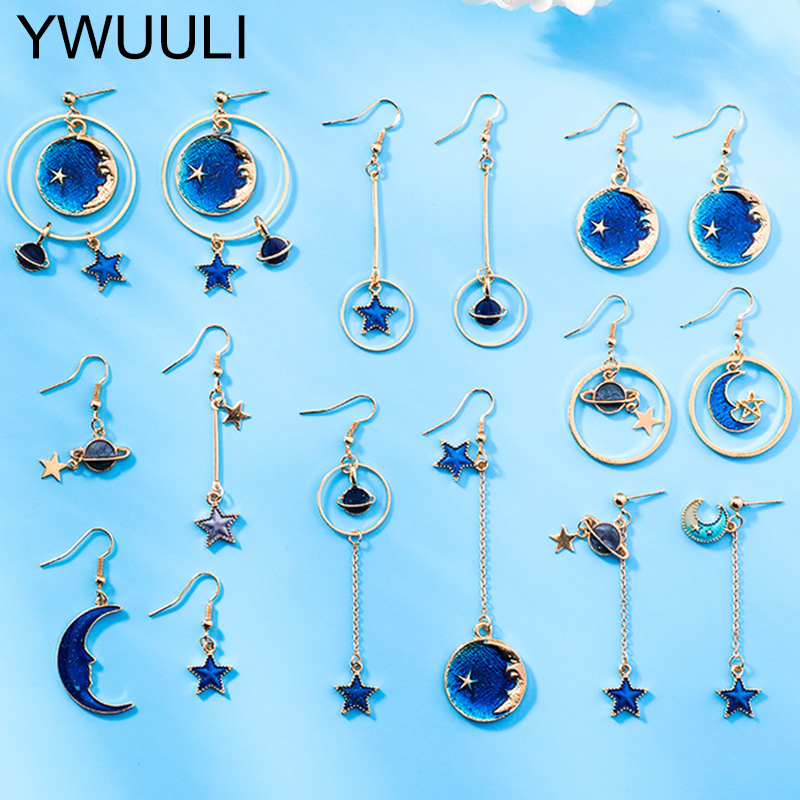 Blue Universe Star Moon Dangle Drop Earrings For Women Elegant