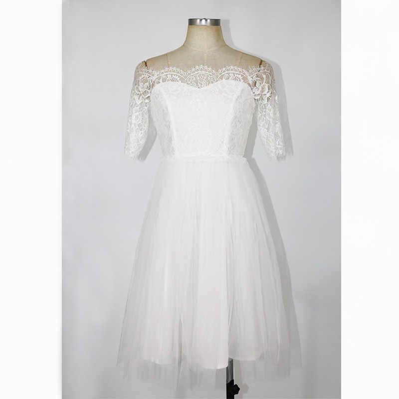 2018 Vestidos de fiesta de encaje blanco de Verano para mujer Sexy Club Casual Vintage túnica de playa Vestidos de Verano túnica de mujer