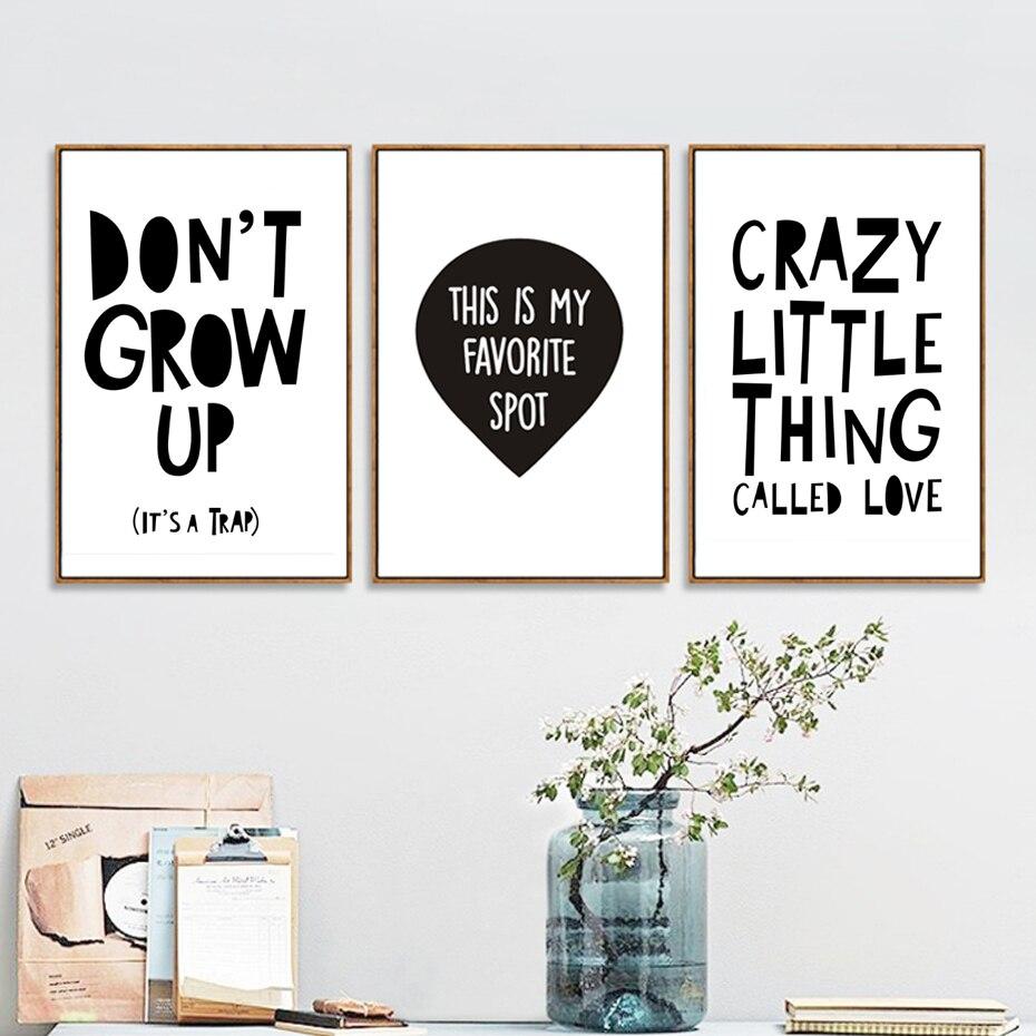 Minimalistický Nursery Letters Canvas Malování Černá a bílá Plakáty Reprodukce Wall Art Obrázky pro děti Ložnice Dekorace Unframed