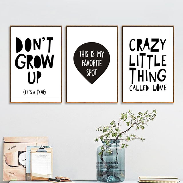 Minimalist nursery letters canvas painting black and white posters prints wall art pictures for kids bedroom