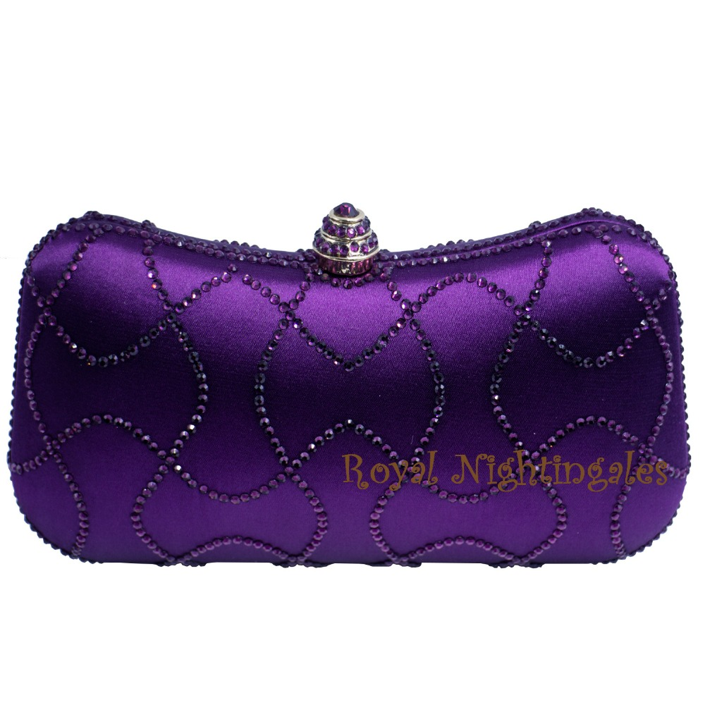 Newest Purple Crystal Clutches Box Clutch Bags For Womens Party Crystal Rhinestone Evening Purses And Bags