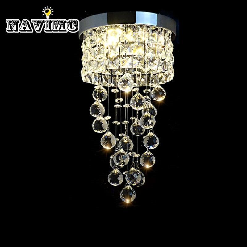 Modern Led Small Crystal Chandelier Lighting Ceiling Lamp for Kitchen Bathroom Closet Bedroom Decorative Lamp 20cm Diameter