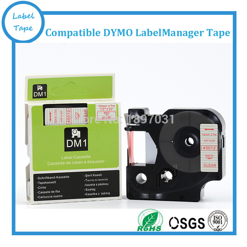 1 x D1 tape cartridge 45012 12mm x 7m Red//Clear for DYMO label manager printers
