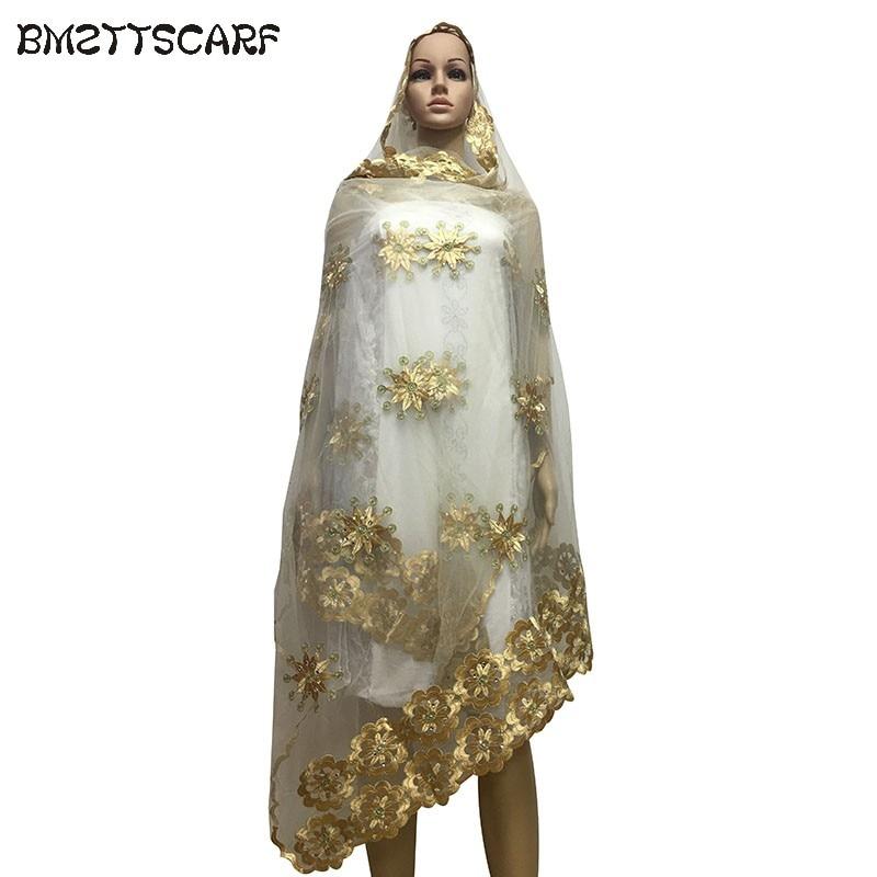 431fbbb50dd6 Dernières africain femmes écharpes, musulman broderie femmes grande écharpe  tulle matériau respirer et doux écharpe dans ...