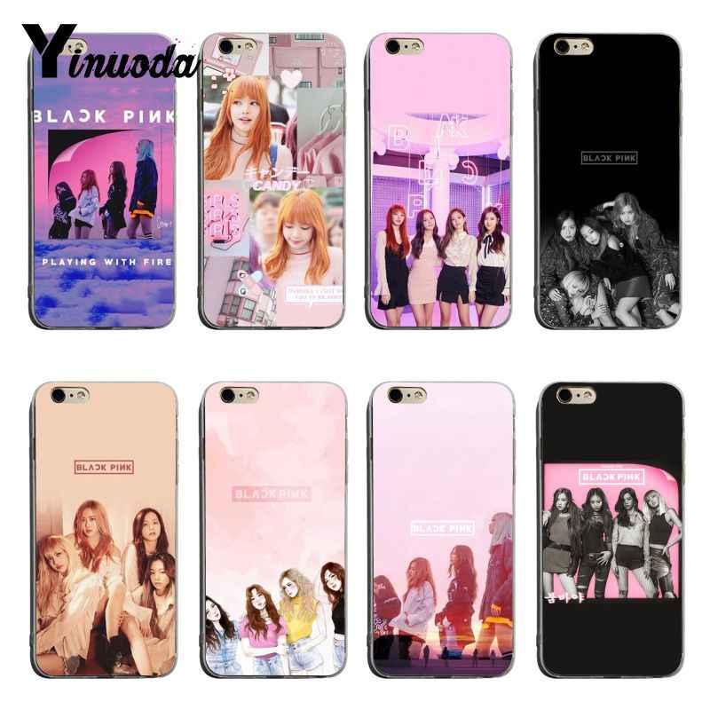 Yinuoda Negro Rosa K Pop Blackpink Kpop Collage 2018 Colores Dibujo Suave Tpu Funda De Teléfono Para Iphone X Xs Xr Xsmax 6 S 6 7 8 Plus