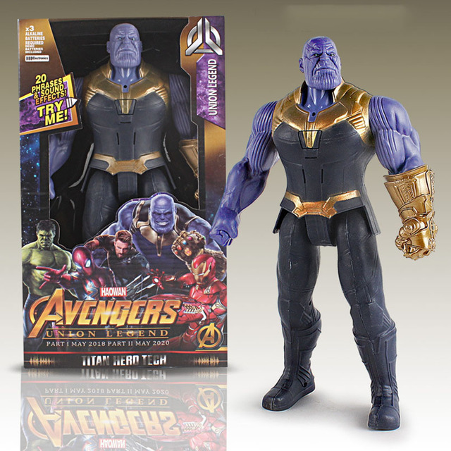 Apaffa 30cm Iron Man Spiderman Thanos Thor The Hulk Black Panther Captain America PVC Model Action Figure Toys For Children