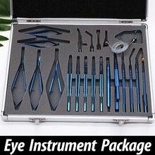 Juego de instrumentos microquirúrgicos oftalmológicos, 21 juegos, acero inoxidable, aleación de titanio, juego de instrumentos microquirúrgicos