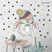 Cute Rabbit Diy Color Wall Stickers For Children Kids Bedroom Cartoon Animals Vinyl Art Decals Wallpaper Poster Home Decor