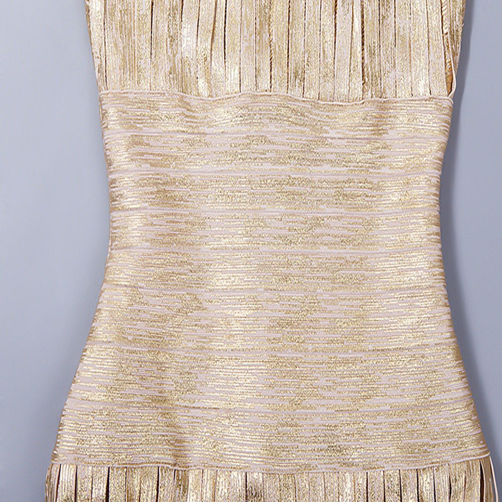 Femmes 2016 Mode Dos Sexy Designer Hl Dress Bandage De Or Haute Nu Gland Moulante O Tricoté Qualité Cou Élégant rOngrqBH