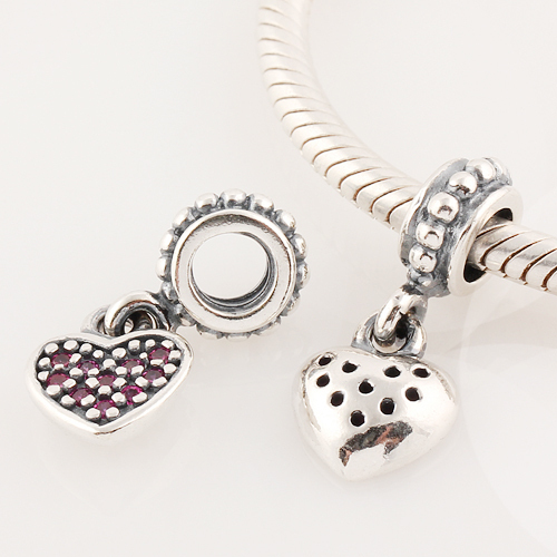 cb4e179cb 925 Sterling Silver White Pave Heart Dangle Charms Beads With Pave Dangle  Fit Pandora Bracelet, Silver Cubic Zirconia Lw173