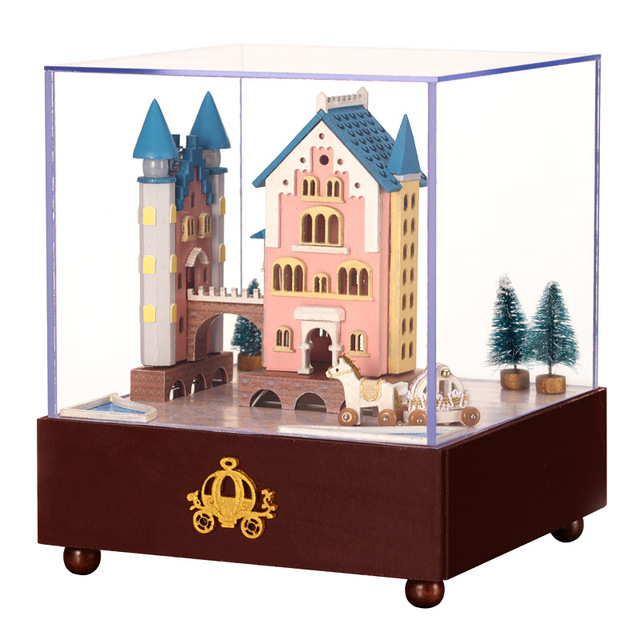 cheap wooden dollhouse furniture. Miniature Wooden Dollhouse Furniture DIY Castle Carriage Doll House Craft Birthday Music Box Gift Puzzle Toy Cheap C