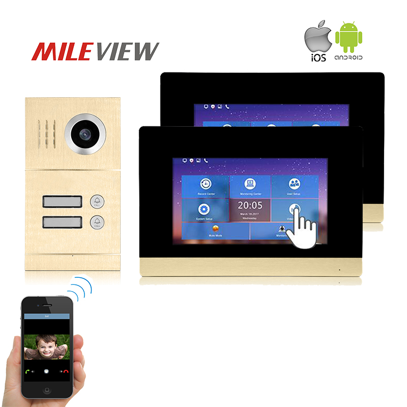 Free Shipping Two Apartment 1.0MP 720P AHD IP 7 Touch Screen Video Intercom Door Phone K ...