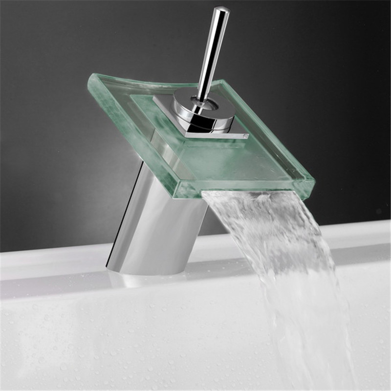 Polished Chrome Glass Color Changing LED Water Kitchen Bathroom ...