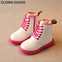CLOWN DUCK Winter Rubber Girls Boots New Fashion Warm Children Shoes Girls PU Leather Plush Platform