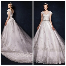 Crockoonboo Princess A-Line Wedding Dress Lace Appliques