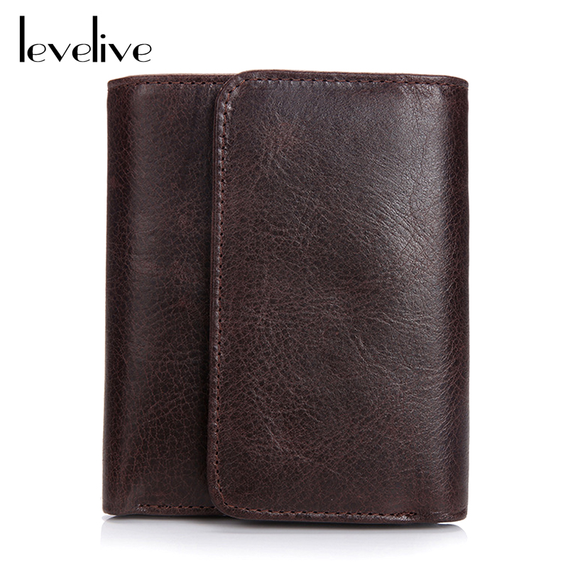 LEVELIVE Brand Casual Genuine Leather Men's Trifold Wallet Men Vintage Real Leather Hasp Wallets Male Purse Carteira Masculina levelive mens genuine leather hasp zipper wallets men real cowhide wallet coin pocket card holder male purse carteira masculina