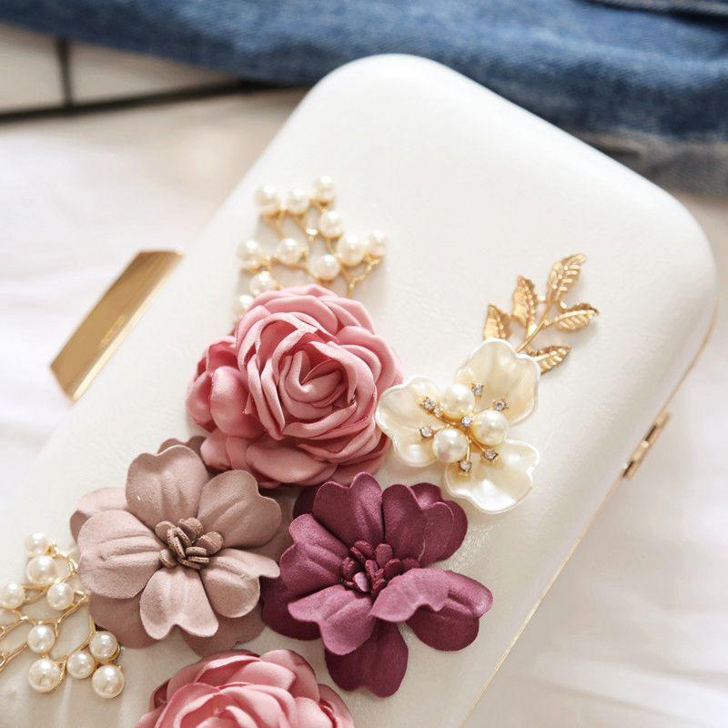 Dcos-bolsas femininas bolsas flor envelope de couro