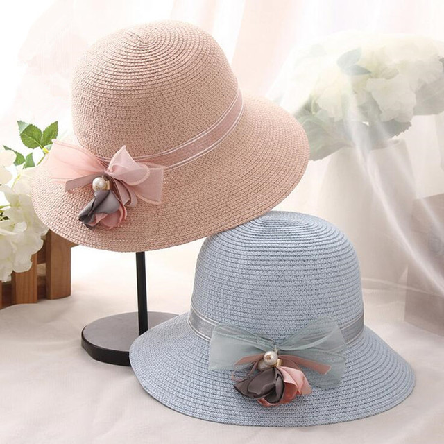 24a40ee5bd7 Hot Sale Korean Straw Sun Hats For Women Girls Cap Anti-UV Beach Summer  Floppy Cap For Ladies Flower Straw Hat With A Wide Brim