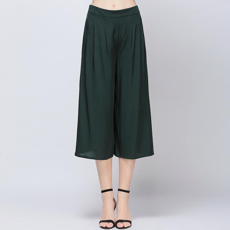 90% Silk Pants Women Wide Leg Solid Elastic Waist Calf-length Pants Solid 3 Colors New Fashion Europe and American Style 2018