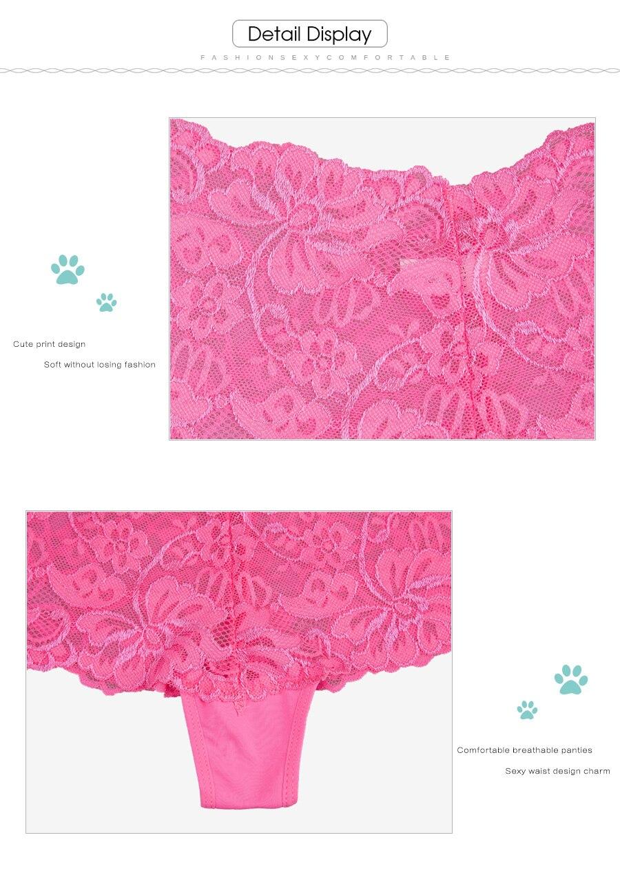 55d36c96b5a7 FUNCILAC mujeres Sexy Boxer transparente de encaje Boyshort Bragas para  mujer ropa damas ropa interior más tamaño ropa interior 5 unids/set
