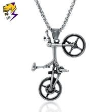 Collares de bicicleta Vintage para hombres y mujeres de acero inoxidable colgante de plata antigua para bicicleta collares largos de cadenas Estilo libre BMX joyería