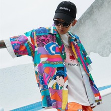 Men Loose Hip Hop Shirt Harajuku Japanese Ukiyo E Anime Shirt Short Sleeve Top Hawaiian Shirt Casual Streetwear Thin Summer 2018